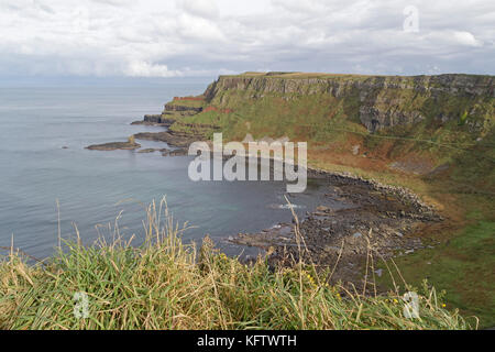 cliffs, Giants Causeway, Bushmills, Co. Antrim, Northern Ireland - Stock Photo