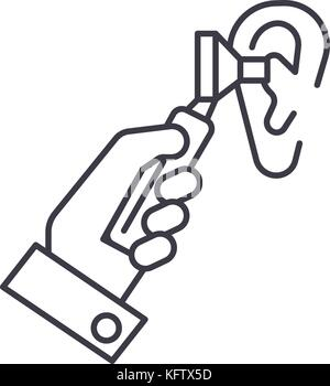 otoscope ear,ent,otolaryngologist,doctor vector line icon, sign, illustration on background, editable strokes - Stock Photo