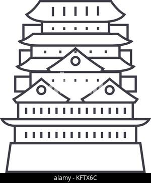 pagoda,asian temple vector line icon, sign, illustration on background, editable strokes - Stock Photo