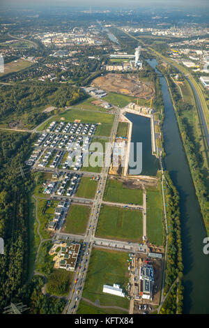 Neubausiedlung Count Bismarck, semi-detached houses, residential property, Count Bismarck, Marina Rhine-Herne Canal, - Stock Photo