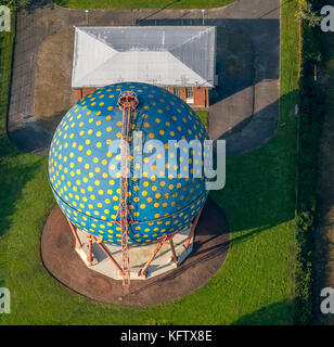 Spherical gas container on the Rhine-Herne Canal, THE BALL, ROLF GLASMEIER, Gelsenkirchen, Ruhr area, North Rhine - Stock Photo