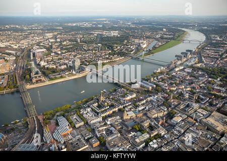 Cologne's Old Town Catholic church Gross St. Martin, all the bridges over the Rhine, Hohenzollern Bridge, Severin - Stock Photo