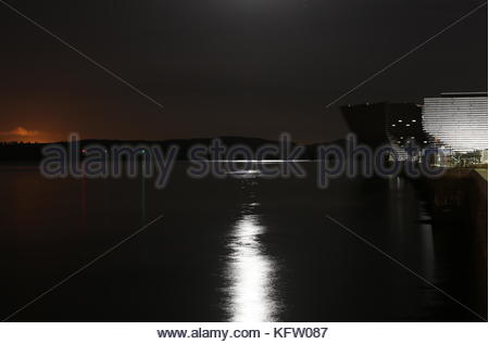 Moonlight on River Tay and V&A Design Museum Dundee Scotland October 2017 - Stock Photo