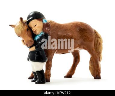Vintage ceramic horse and rider by Hagen-Renaker Inc., San Dimas, California, USA - Stock Photo