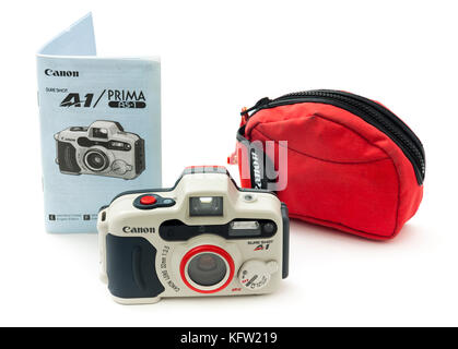 Canon SureShot A1 compact underwater autofocus 35mm film camera from 1994, complete with pouch and User Manual - Stock Photo