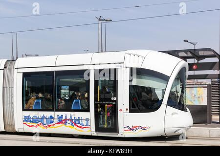 Lyon, France - March 15, 2017: Tramway at Confluence station in Lyon, France - Stock Photo