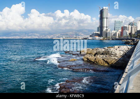 Seacoast with natural pool in Beirut with cityview on a sunny day, Lebanon