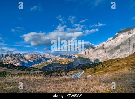 View in the direction of the Groedner Pass from the Sella Pass, Province of Bolzano-Bozen, South Tyrol, Italy, Europe - Stock Photo