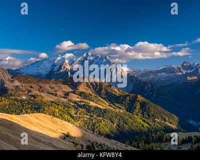 View from Sella Pass towards Marmolada Mountain, Dolomites, Alto Adige, South Tyrol, Italy, Europe - Stock Photo