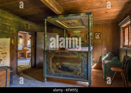 Bed room in a historic farmhouse, Markus Wasmeier Farm and Winter Sports Museum, Schliersee, Upper Bavaria, Bavaria, - Stock Photo