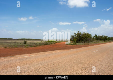 Great Northern Highway ,a sealed road with  length of  2,000 miles  the longest highway in Australia , crossing - Stock Photo