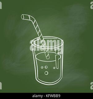 Hand drawing Glass of Juice, cartoon style Isolated on textured green board. Education Concept, Vector Illustration. - Stock Photo