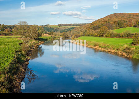 The River Wye from Bigsweir Bridge in the Wye Valley - Stock Photo