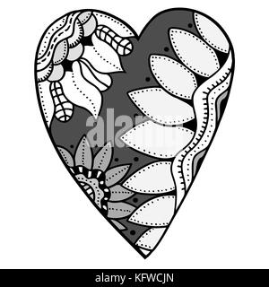 Romantic Floral Coloring Page Design In Exquisite Line Stock Photo