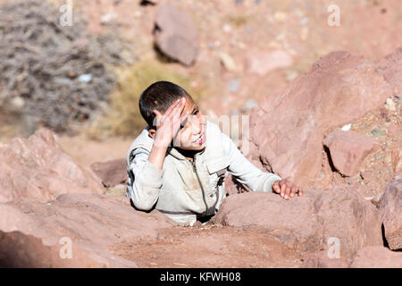 Megdaz, Morocco, 15 October, 2017: Indigenous Berber people in Megdaz, a  village situated in high Atlas mountains, - Stock Photo