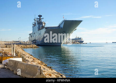 Aircraft carrier, Spanish ship Juan Carlos I moored in the port of Malaga, Andalusia, Spain. - Stock Photo
