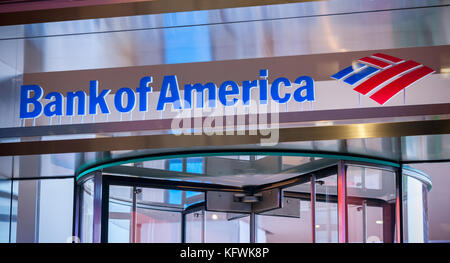 A branch of Bank of America in New York on Tuesday, October 31, 2017.  (© Richard B. Levine) - Stock Photo