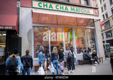 People line up for their fix of matcha at Cha Cha Matcha in the NoMad neighborhood of New York on Saturday, October - Stock Photo