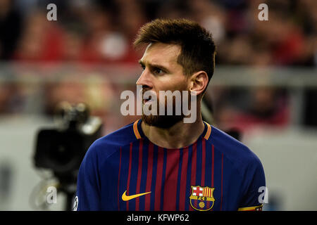 Athens, Greece. 31st Oct, 2017. Lionel Messi of Barcelona during the Champions League football match between Olympiacos - Stock Photo