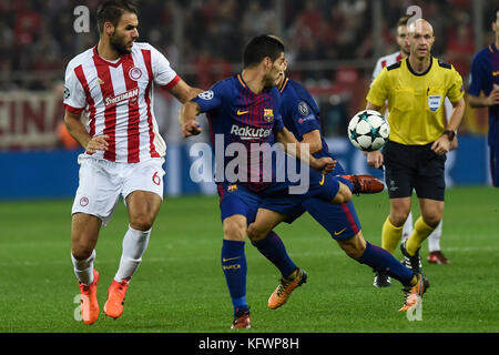 Athens, Greece. 31st Oct, 2017. FC Barcelona's Luis Suarez (C) in action during Group D, UEFA Champions League football - Stock Photo