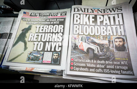 New York, USA. 1st Nov, 2017. New York newspapers on Wednesday, November 1, 2017 report on the previous day's terrorist - Stock Photo
