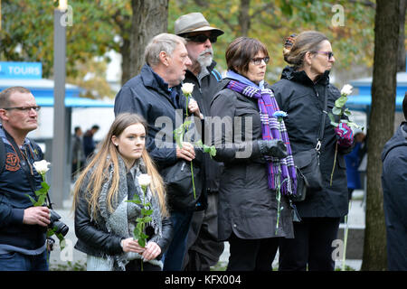 New York City, USA. 1st November, 2017. People taking part in a moment of silence to honor those killed in the terrorist - Stock Photo