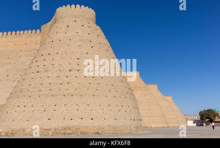 Wall of the massive Ark fortress, located in the city of Bukhara, Uzbekistan. - Stock Photo