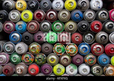 Aerosol spray cans background - Stock Photo