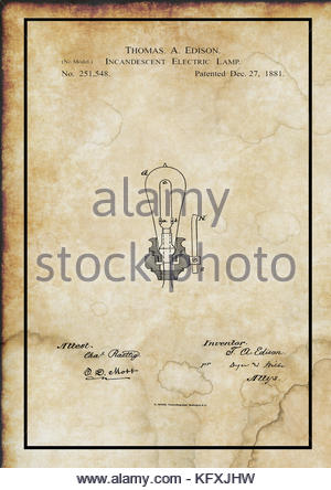 Edison Incandescent Electric Lamp Patent - © Doc Braham; All Rights Reserved. - Stock Photo
