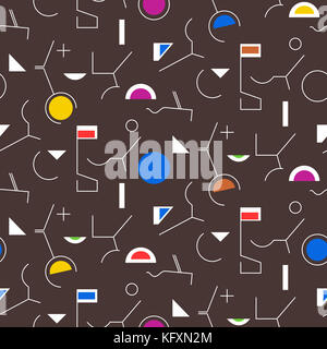Geometry abstract seamless pattern. Linear motif background. Simple geometric shapes, triangles, squares, lines - Stock Photo