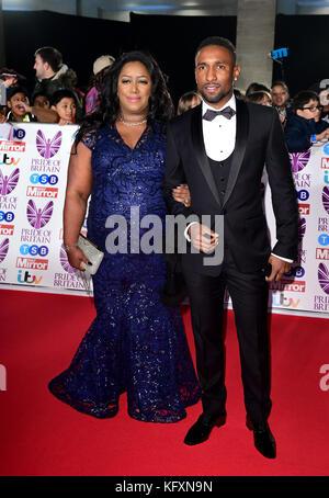 Jermain Defoe and mother Sandra attending The Pride of Britain Awards 2017, at Grosvenor House, Park Street, London. - Stock Photo