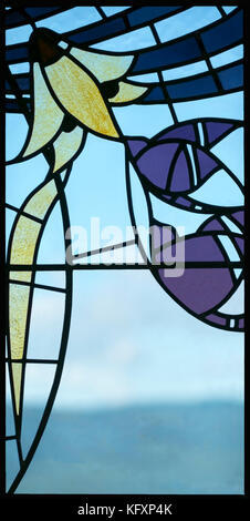 An elegant and stylish window design in The Blackwell Arts and Crafts House, Bowness on Windermere, Lake District, - Stock Photo