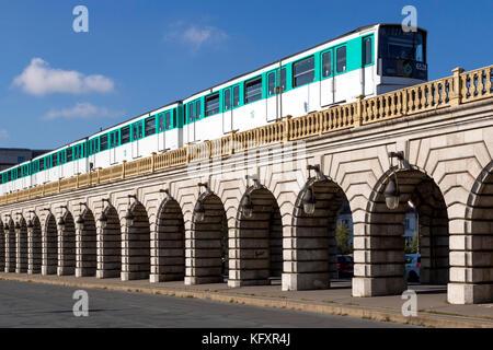 Metro on Pont de Bercy, Paris - Stock Photo