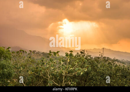 Panoramic view of the Celaque mountain and National during early sunset hours seen from the Castillo San Cristobal, - Stock Photo