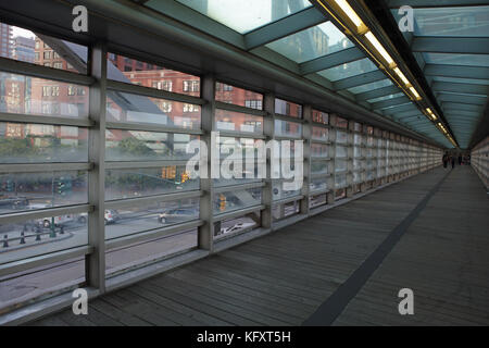 New York, NY, USA - October 3, 2017: TRIBECA Bridge where Chambers Street intersects with West Street in Lower Manhattan - Stock Photo