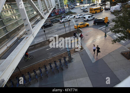 TRIBECA Bridge where Chambers Street intersects with West Street in Lower Manhattan - Stock Photo