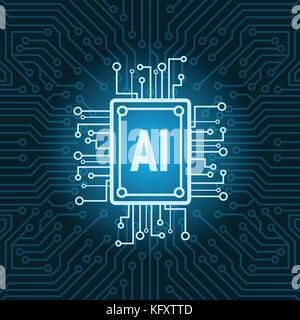 Artificial Intelligence Chip On Circuit Motherboard Background Modern Technology Concept - Stock Photo
