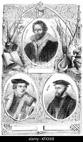 Martin Luther, Philipp Melanchthon and Johannes Calvin - Stock Photo