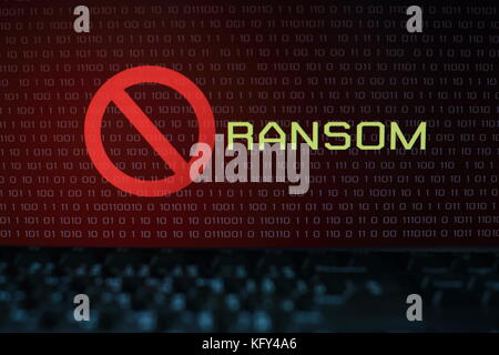 unlock lock in front of ransomware digital screen with numbers and binary code.   Hacking concept background. Technology - Stock Photo
