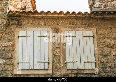 Fragment of the buildings of the old town of Budva, Montenegro. The first mention of this city is more than 2600 - Stock Photo