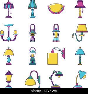 Lamp icons set, cartoon style - Stock Photo