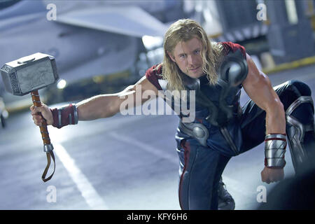 THE AVENGERS 2012 Marvel Studios/Paramount film with Chris Hemsworth as Thor - Stock Photo