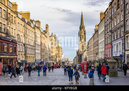 View along the Royal Mile in Old Town of Edinburgh, Scotland, United Kingdom. - Stock Photo