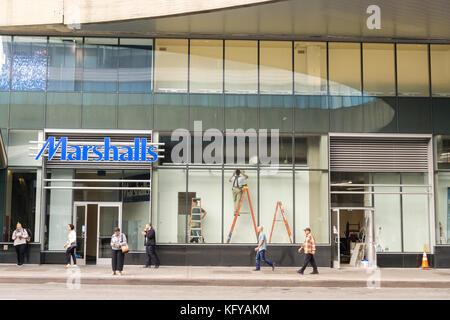 Marshalls off-price retailer in the newly renovated George Washington Bridge Bus Terminal in Washington Heights - Stock Photo