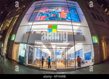 The Microsoft flagship store on Fifth Avenue in New York, on Tuesday, October 24, 2017. Microsoft announced that - Stock Photo