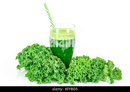 Healthy smoothie with green kale in glass isolated on white background - Stock Photo