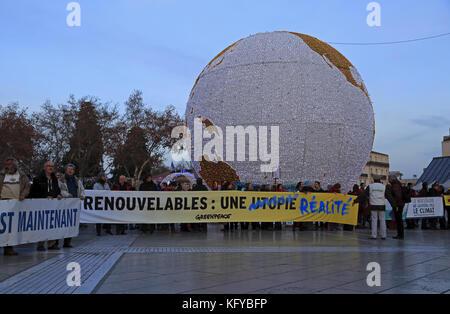 Protest Climate in Montpellier COP21, Place de La Comedie, Languedoc-Roussillon, France - Stock Photo