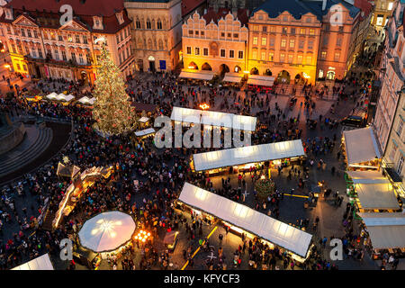 PRAGUE, CZECH REPUBLIC - DECEMBER 11, 2016: View from above on famous traditional Christmas market at Old Town Square. - Stock Photo