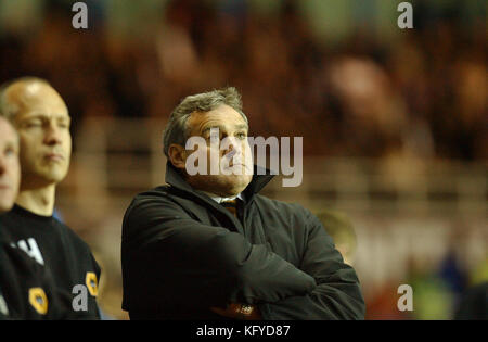 Wolverhampton Wanderers Football manager Dave Jones watching his team in Play off semi final against Reading 14/5/03 - Stock Photo