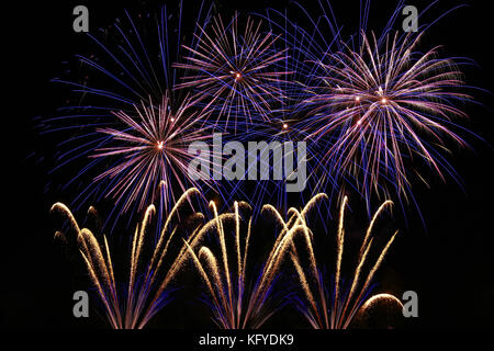 Bonfire Night (Guy Fawkes Night) - fireworks display on 5th November in Great Britain - Stock Photo